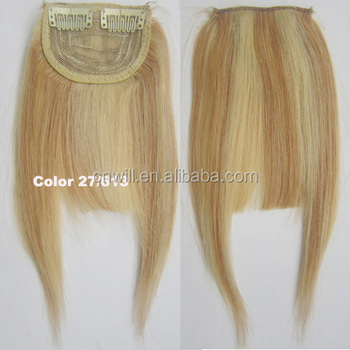 Women Human Hair Clip In Bangs Fringe Blonde Hair Extensions Front on Brown  Black Blonde 450cd7f80e