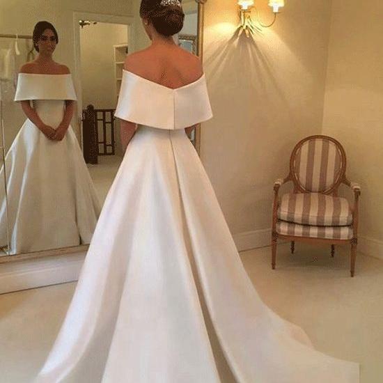 a785bdf820 Elegant White Satin A Line Wedding Dress Bridal Gown Bateau Neckline Simple  Formal Church Wedding Vestidos - Buy Wedding Dress 2018,Plus Size Wedding  ...