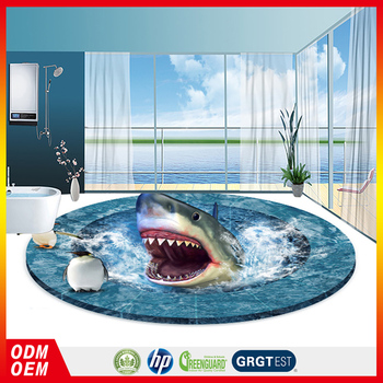 Shark open the mouth epoxy 3d floor sticker 3d flooring for Epoxy boden 3d