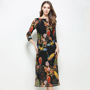 Spring new King duckling with the long slit in the slim lace print dress