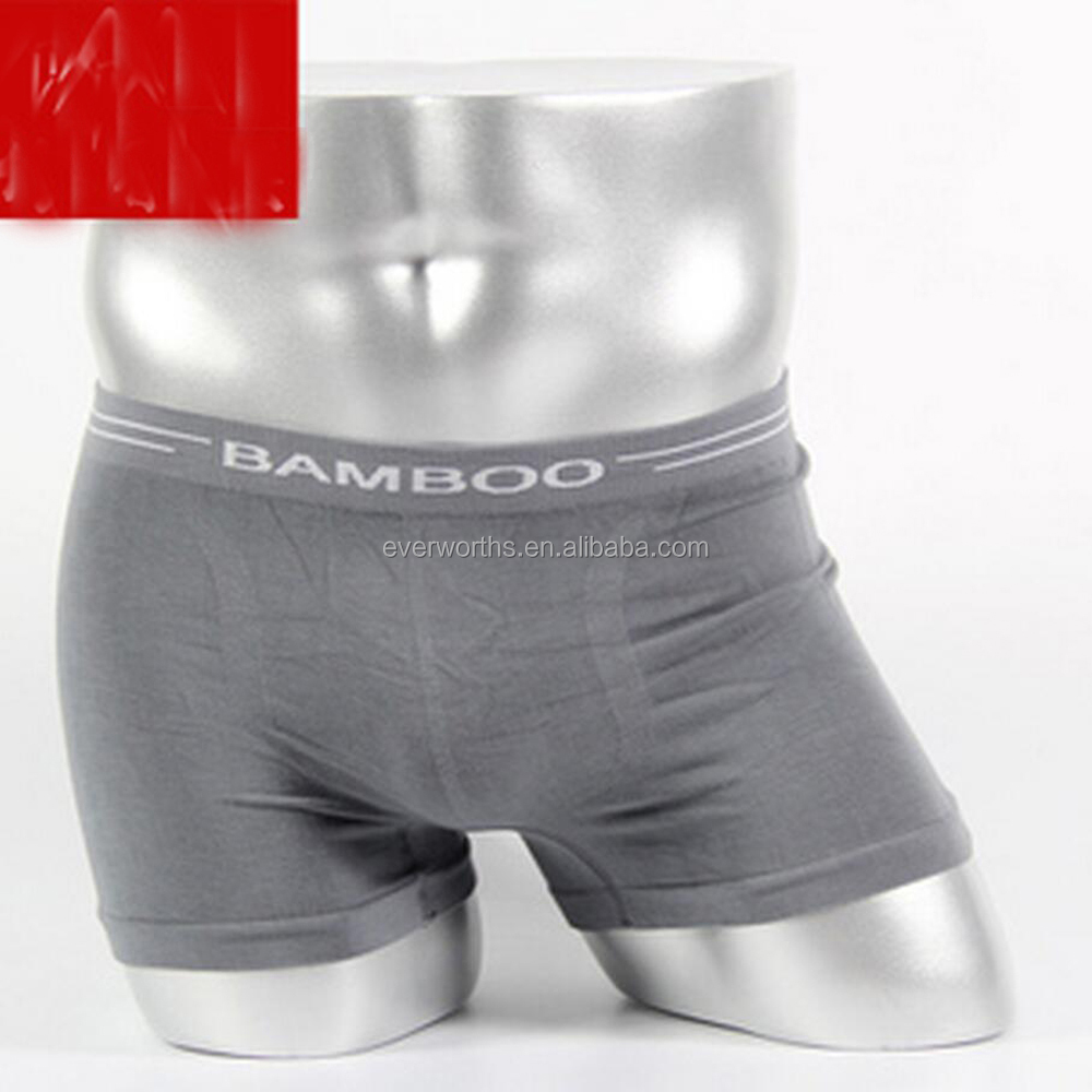 Mens seamless bamboo cotton spandex boxers
