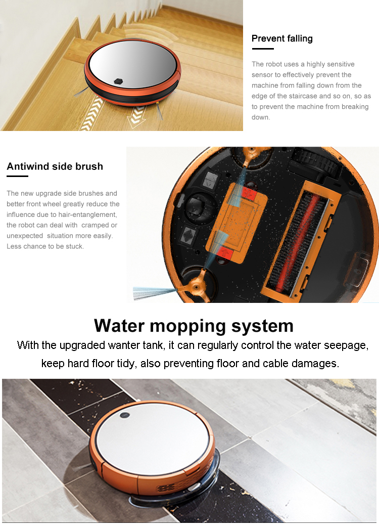 CE RHOS 2600mah Battery Gyroscope Navigation washing floor smart automatic vacuum cleaner robot for home