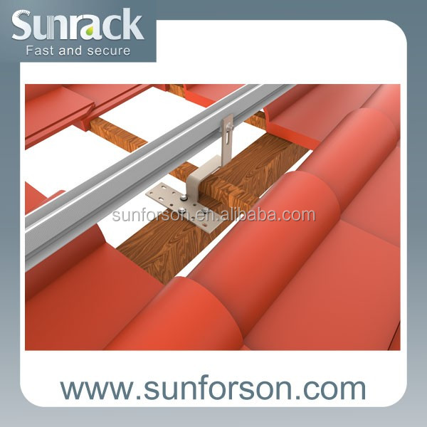 solar mounting on slope pitch tile roof