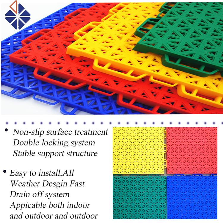 Mobile outdoor basketball court pp interlocking sport plastic floor tiles