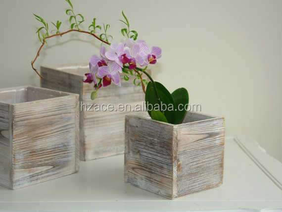Rustic Little Wooden Plant Wooden Flower Holder Stand Pot