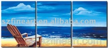 Hot and New Beach and Sea Triptych Oil Painting for Decoration