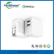 xinspower qc3.0 usb wall charger 5v 2A black solar charger cell phone