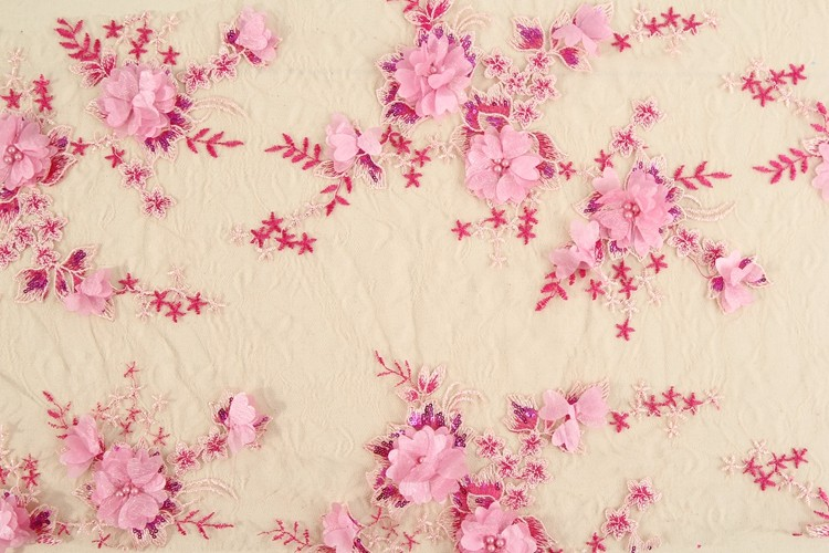 Fashion design polyester pink d flower hand embroidered