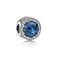Wholesale hot selling 925 sterling silver jewelry blue round zircon charm pedant