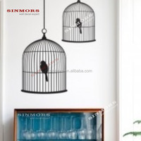 Custom 2pk decorative bird cages adhesive vinyl waterproof removable wall decal sticker home decor wholesale
