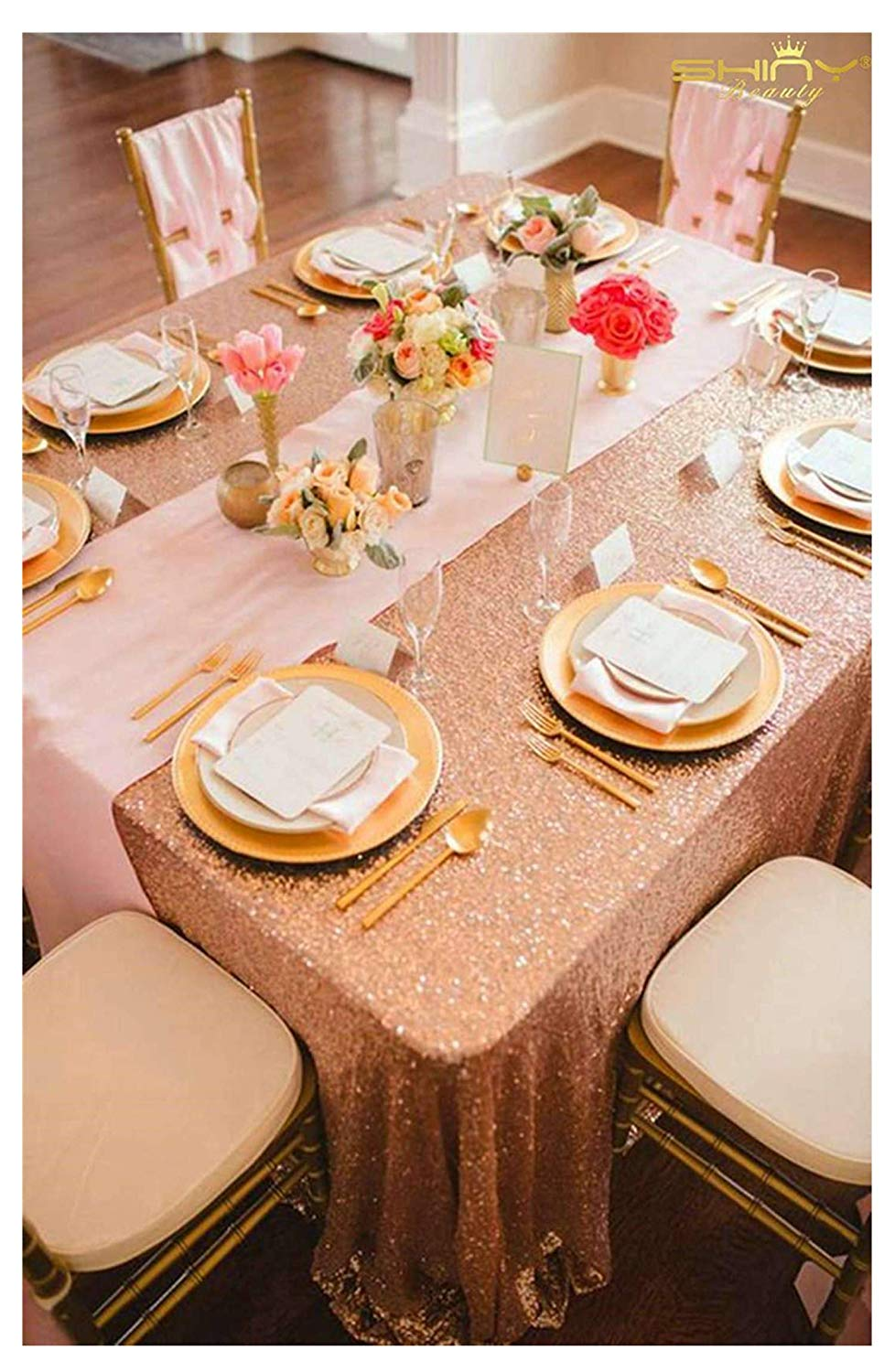 ShinyBeauty 90x132-Inch-Sequin Tablecloth-Rectangular-Rose Gold,6FT Table Dropping to Floor Wedding Table Linen/Cloth