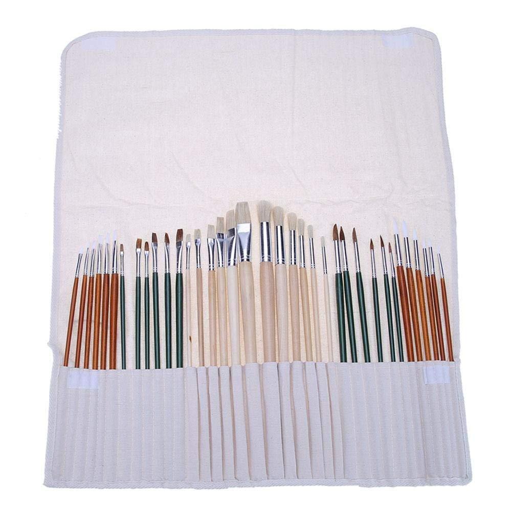 Asiproper 36pcs Aluminum Tube Paint Brush Set with Cloth Pen Curtain