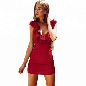 3b2443bfb916 Women Sexy Plain Ruffle Short Tight Bodycon Mini Dress for Cocktail Party