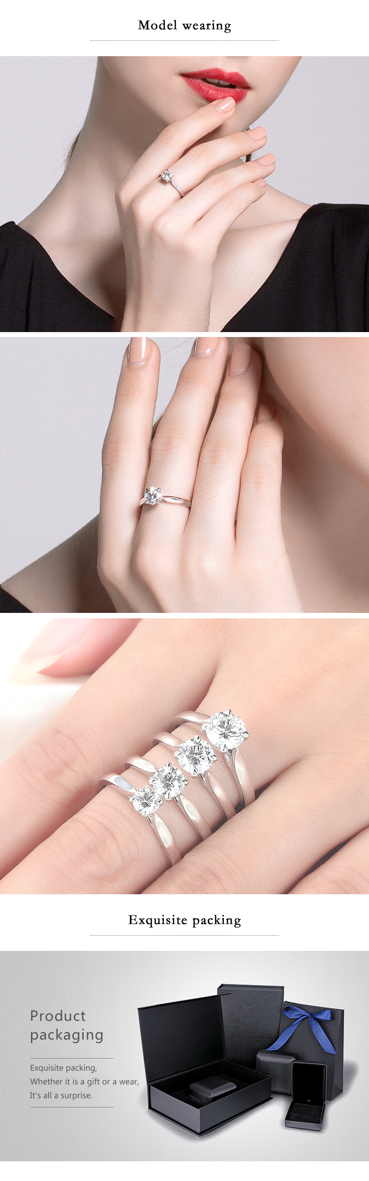 Myshining Romantic 18k White And Rose Gold Four Claws Moissanite ...