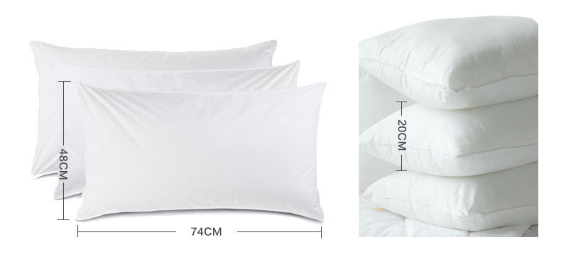 Cotton White Standard Size Polyester Fiber Hotel Pillow