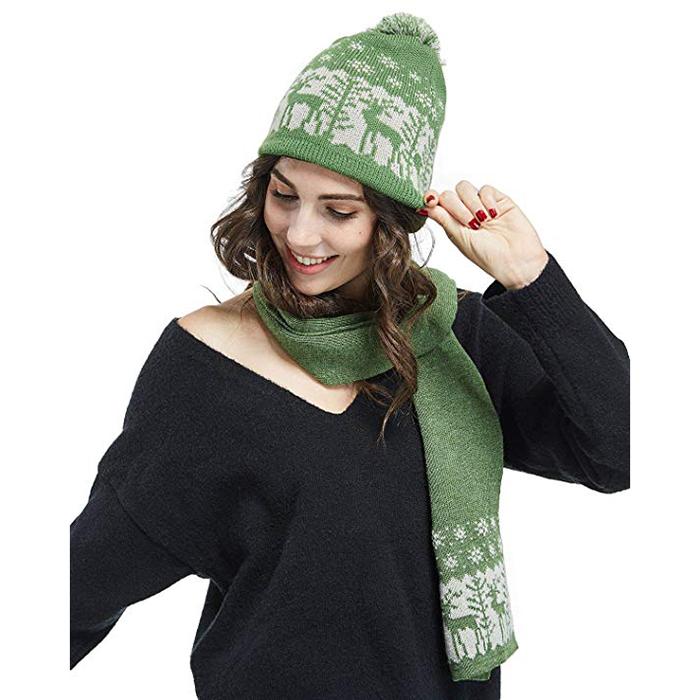 b0f9e0ca9eda9 Christmas Pom Pom Beanie Winter Warm Knit Cap Skully Scarf And Hat Set 100  Soft Polar