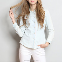 2016 new Women's the new lady embroidered collar denim jeans long-sleeved shirt