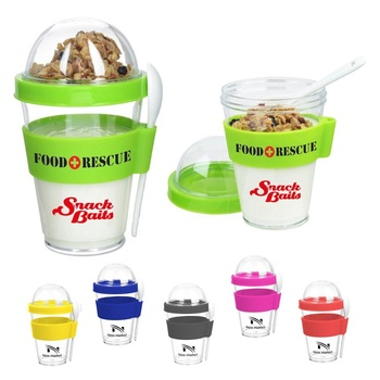 High quality 350 ml plastic breakfast cereal-to-go mug promotion portable clear single wall yogurt cereal cup with spoon