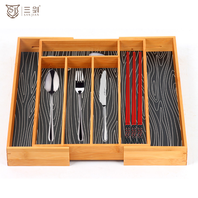 Flatware Expandable Bamboo Cutlery Tray With Large Adjustable Divider Tray