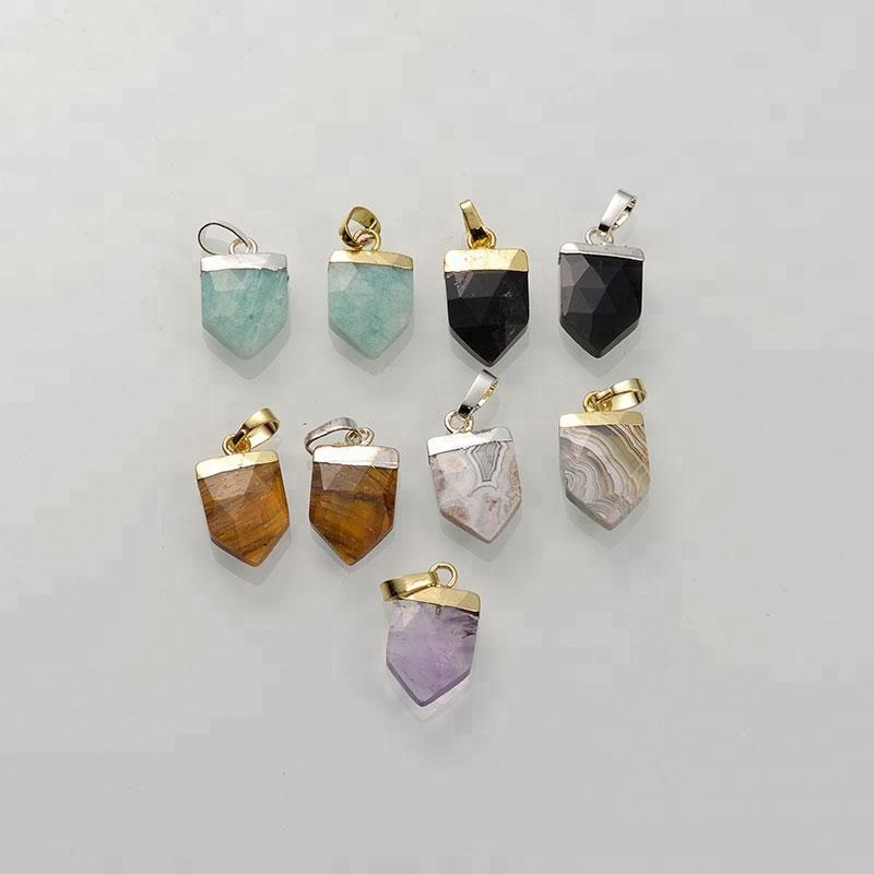 Plated Gemstone Natural Faceted Arrowhead <strong>Pendant</strong>