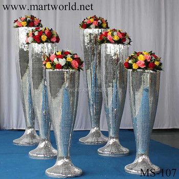 2018 Mirror Fiber Glass Vase Wedding Decoration Fiber Glass Wedding
