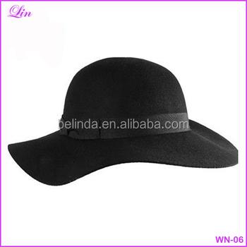 Fashion Winter Big Lady Black Wool Felt Floppy Hat - Buy Wool Felt ... 314a7e33239
