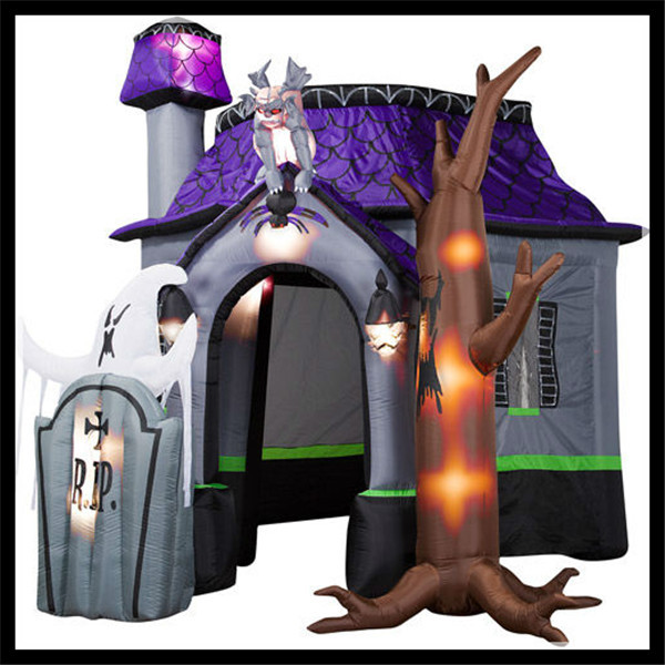 Halloween Inflatable Haunted House Castle With Monster