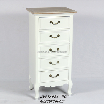 268ea785fb95 French Vintage White Tall Boy Chest Of 5 Drawers - Buy Chest Of ...