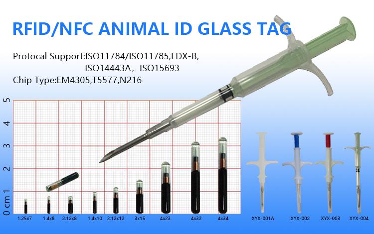 Inyectable de identificación de mascotas de seguimiento de Microchip RFID NFC Microchip implantado para perro
