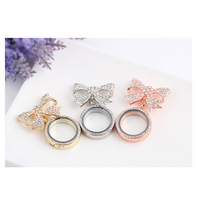 2018 New Fashion Bow Design DIY Round Shape Phote Box Brooches