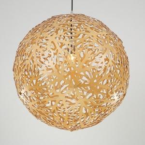 Handicraft Large Laser Cutting Wood Veneer Lamp Orbit Hollow Round Pendant Light