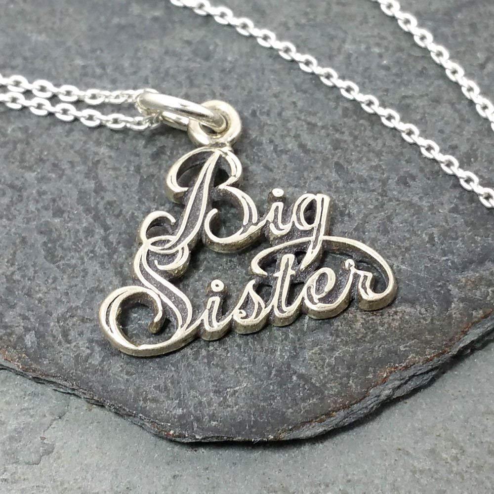 Sterling Silver Womens 1mm Box Chain BIG SISTER Word Pendant Necklace