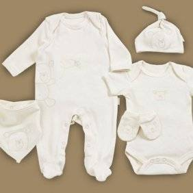 Natures Purest 5 Piece Cream Baby Starter Gift Set with Hug Me Bear - Soft Organic & Pure. 0-3 months