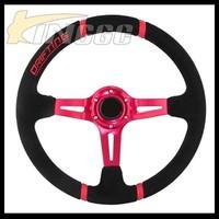 High Quality Universal Suede 14 Inch Drift Race Car Deep Steering Wheel