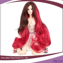 very beauty long curly red synthetic BJD doll hair wig wholesale price