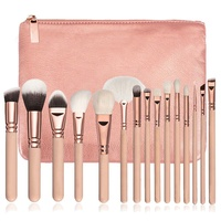 2019 Fangxia Professional Wholesale New Design Hot Selling Customized Your Own Brand 15pcs Pink Makeup Brush Set