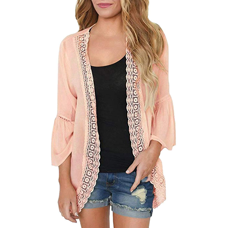 POTO Cardigan Sweaters for Women,Fashion Chiffon Open Front Cardigan Long Sleeve Kimono Cardigan Blouse Top Cover up Outwear