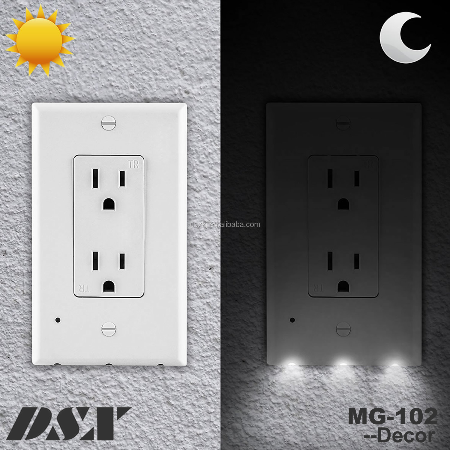 Led Night Light Outlet Cover Plate Duplexdecoreasy Install And