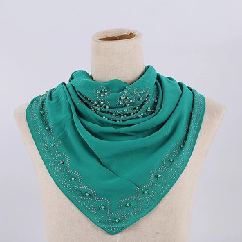 Wholesale square hijabs fashion chiffon scarf hijab with rhinestones women square shawl pure arab styles stoles