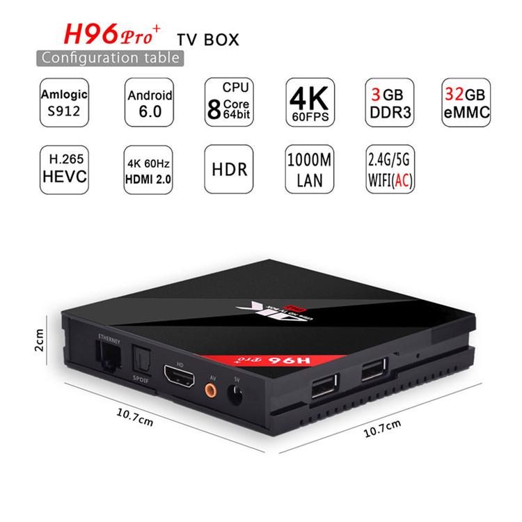 2019 Dragonworth New Brand H96 Pro+ S912 3G 32G desi tv box
