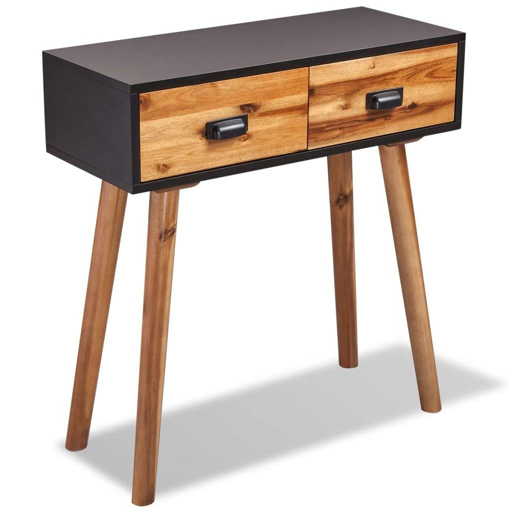 vidaXL Solid Acacia Wood Black and Brown Console Accent Table 2 Drawers Hallway