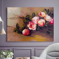 Famous pink roses flower canvas oil painting