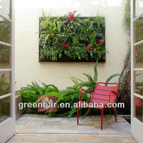 Large outdoor planters for garden retaining wall