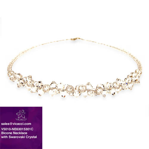 Hot Sale Promotional 925 Sterling Silver Fashion Jewelry Bicone Beaded Necklace with Crystals from SWAROVSKI