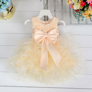 Wholesale kid clothing summer baby party girls one piece dress cute baby girls party dresses