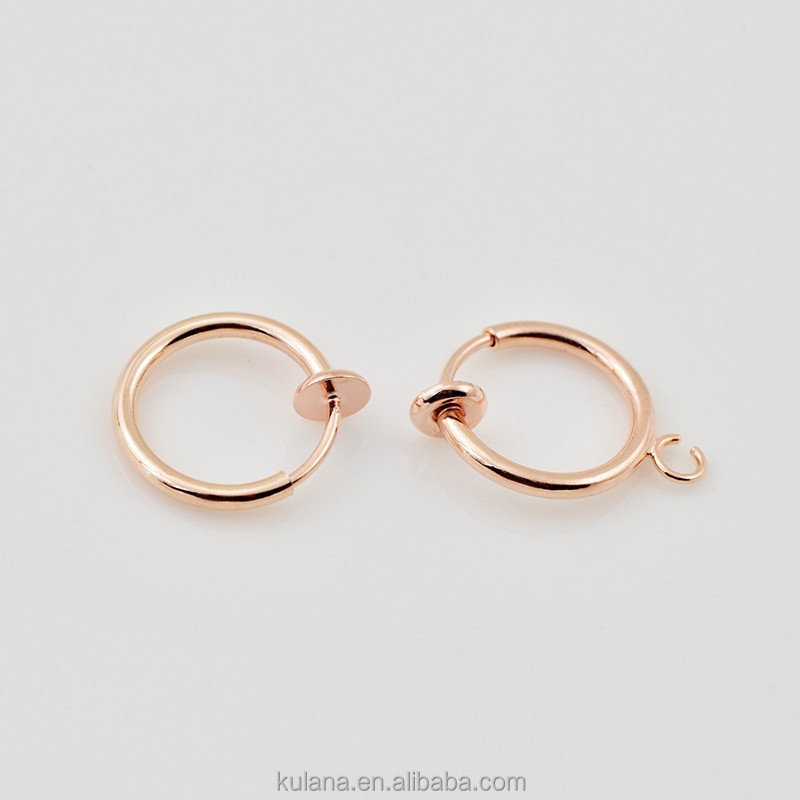 H 65 brass Septum earrings Fake Ear Piercing, rose gold jewelry findings