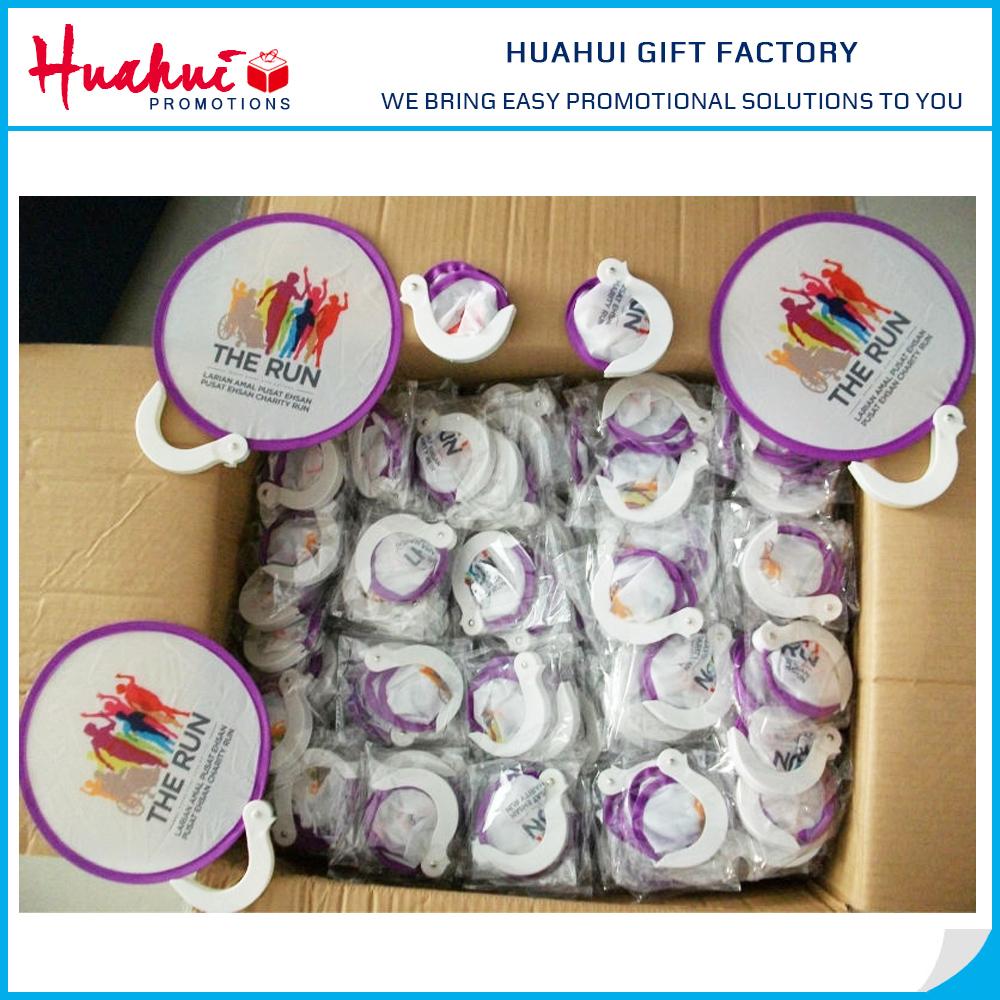 New Product Gifts Custom Printed Nylon Round Folding Fan