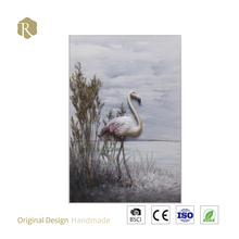 flamingo oil painting wall hanging wholesale price painting South America oil painting