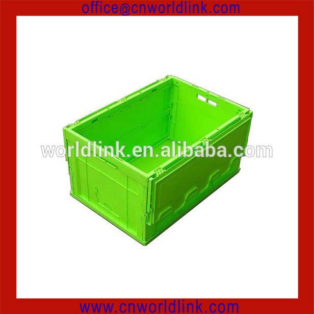 New Style Plastic Storage Attached Lid Turnover Solid PP Foldable Collapsible Container