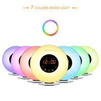 Bedside lamp 7 color LED FM radio table alarm clock usb charge digital Sunrise wake up light for Heavy Sleepers